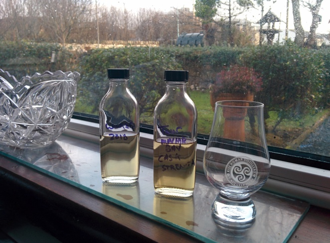 From left: 2010 UK Winter Tour sample & Machir Bay Cask Strength.