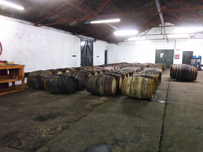 The barrels that are filled on-site at the distillery.