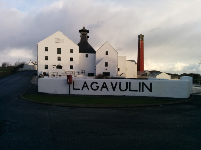 Lagavulin distillery as seen from the main road.