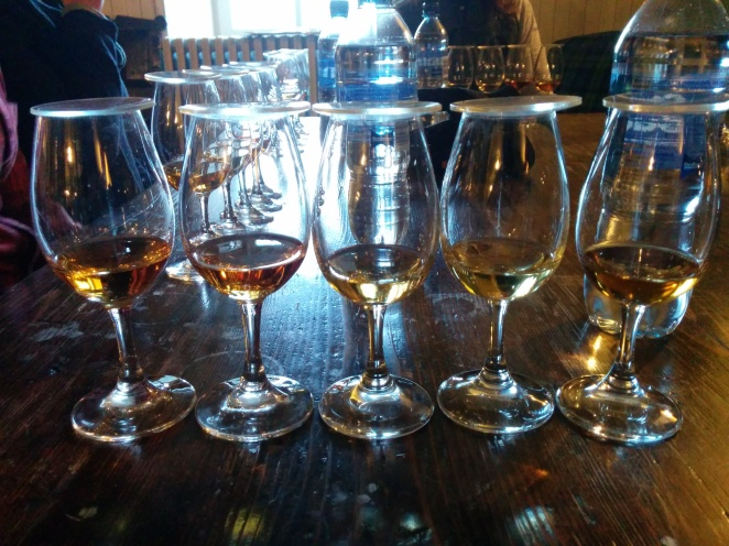From left: Lagavulin 16 Years Old, PX Distiller's Edition, 14 year old ex-bourbon cask sample, 12 Years Old, ex-bodega sherry cask sample.