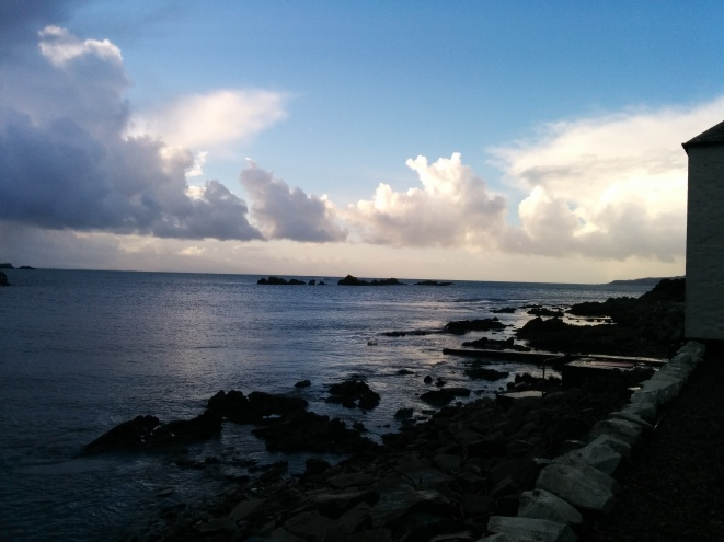 The view of the bay where Laphroaig is situated. The Antrim coast can be seen in the distance.