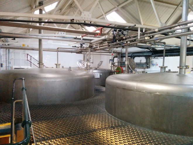 The stainless steel washbacks at Laphroaig, which have a fermantation time of between 55 and 90 hours.