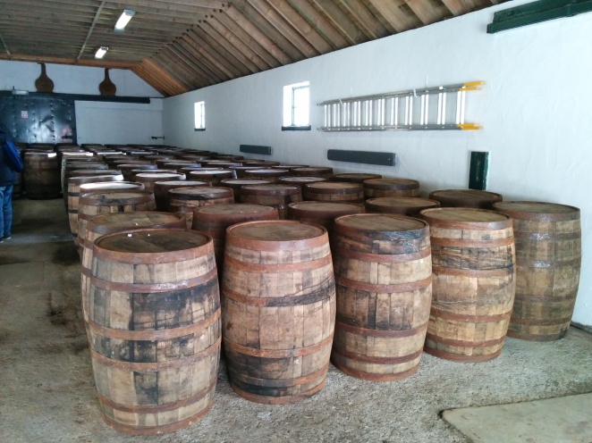 The barrel filling station at Laphroaig contains a variety of different casks varying origins.