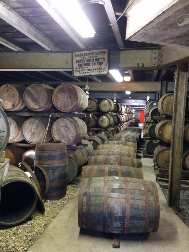 The casks within the warehouse.