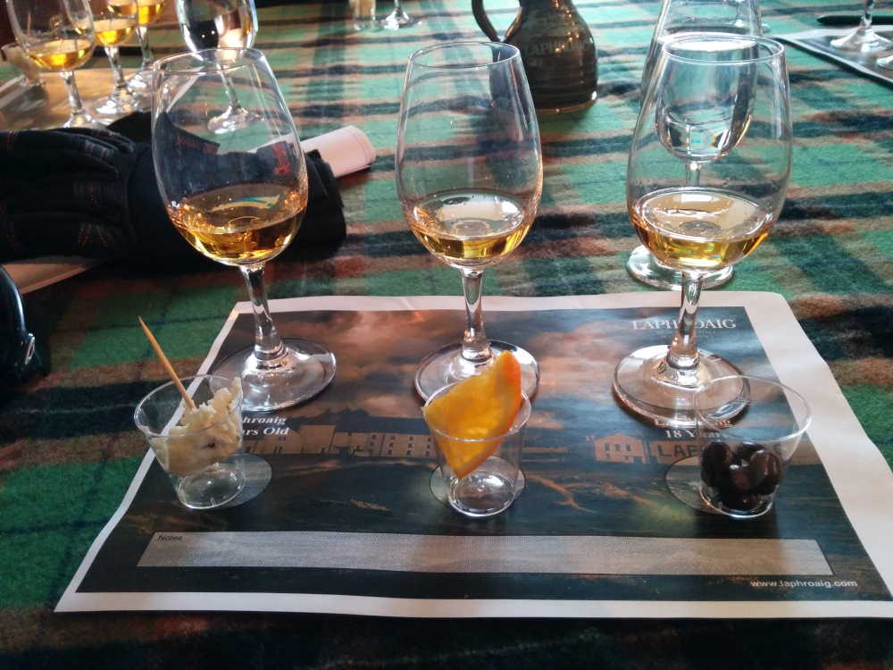 From left: 10 Years Old (with Danish blue cheese), Quarter Cask (with an orange slice) & 18 Years Old (with chocolate covered espresso beans).