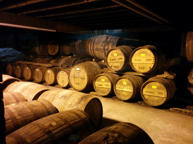 A glimpse of the casks within the warehouse.