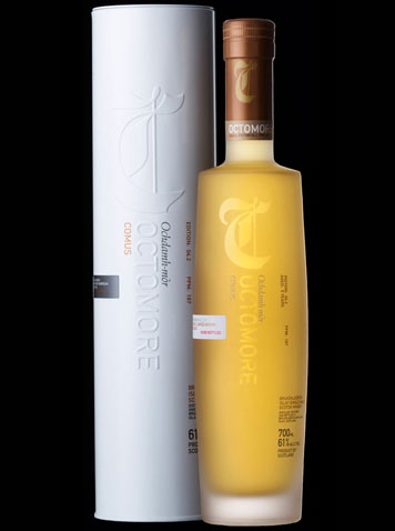 Octomore 4.2 Comus - At one time the peatiest whisky available at 167 ppm phenol.