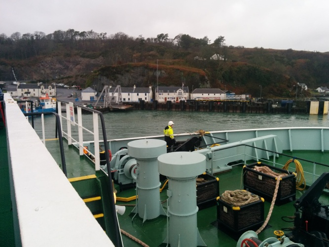 The ferry docking at Port Askaig.