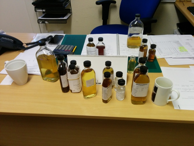 The various cask samples on Mr Jim McEwan's desk.
