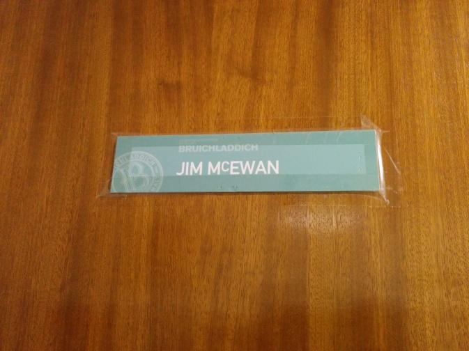 Mr Jim McEwan's nameplate on the door. Simple, yet elegant.
