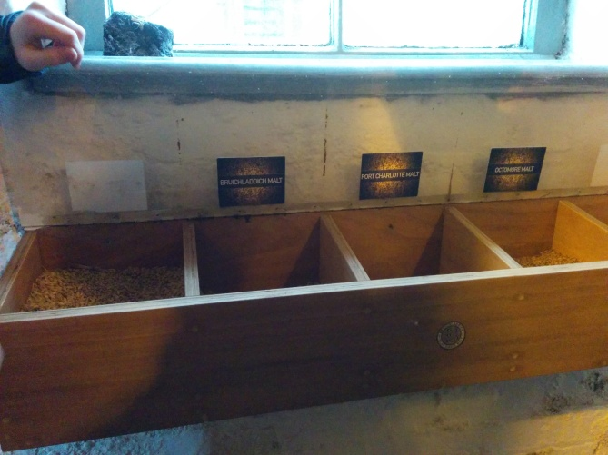The barley display bin showcases the different types of products which go into the mash tun.