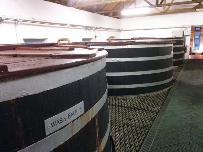 Some of the washbacks at the distillery.