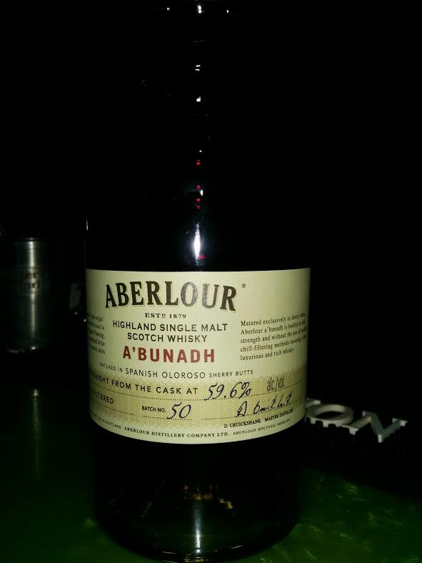 Aberlour A'Bunadh Batch 50, bottled at a cask strength ABV of 59.6%
