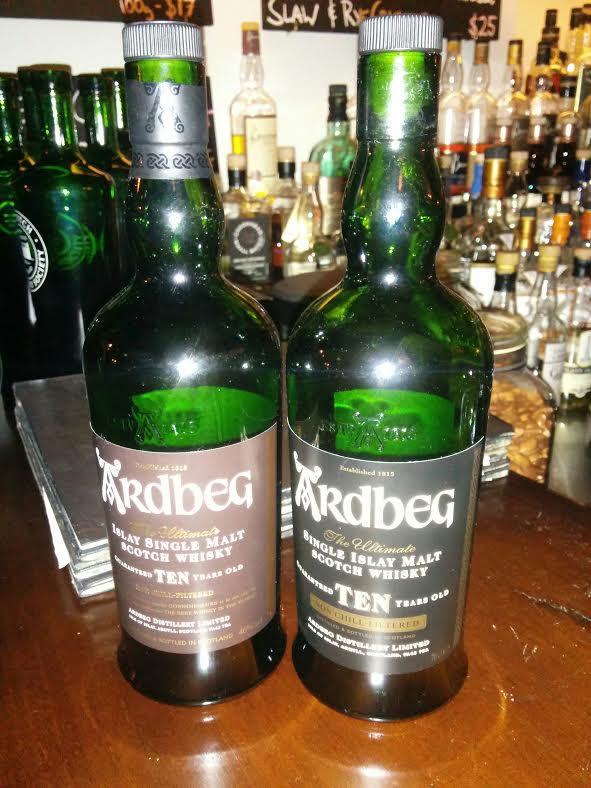 Left: Ardbeg 10 Years (Current bottling) & Right: Ardbeg 10 Years (Old bottling).