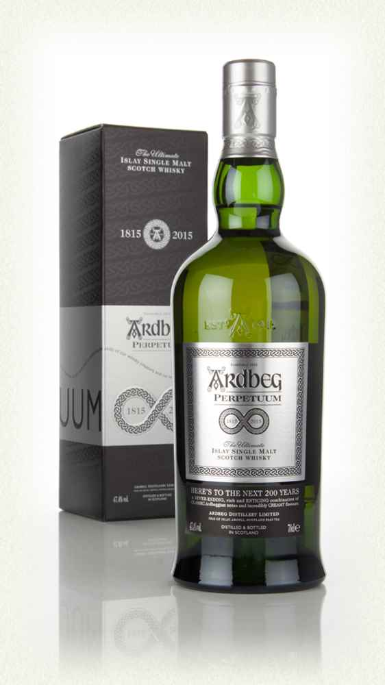 The Ardbeg Perpetuum expression is a marriage of very old and young whisky taken from bourbon and sherry casks.
