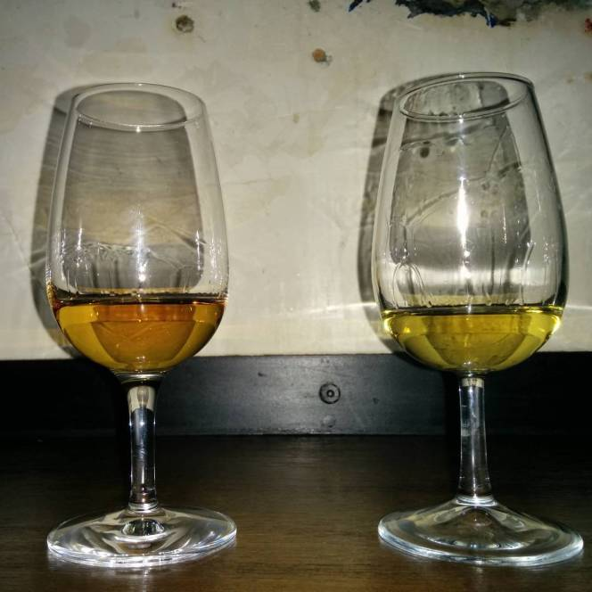 Laphroaig 15 Years Old 200th Anniversary (Left) vs Ardbeg Perpetuum (Right).
