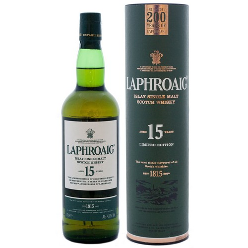 The Laphroaig 15 Years is bottled for the 200th anniversary of the distillery, of which 72000 bottles will be released.