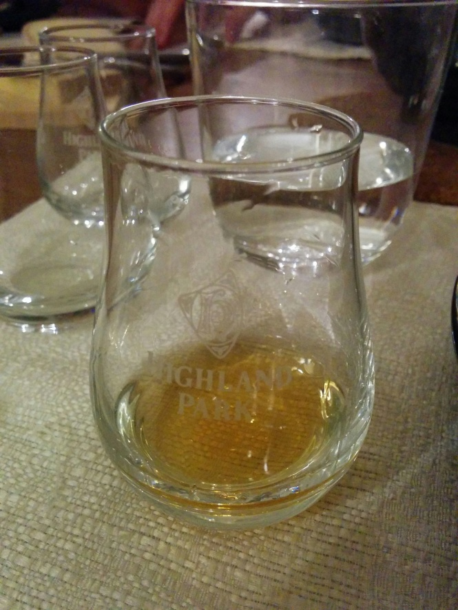 A glass of Aberlour 17 Years Old, served funnily enough in a Highland Park tumbler!